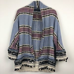 ef530f7919 Zara Jackets & Coats | Striped Kimono With Pom Poms | Poshmark